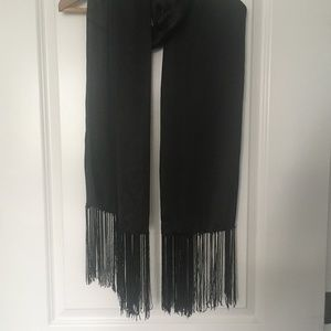 Beaded Satin Flapper-Style Scarf with Fringe